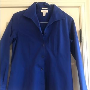 Chico's blue collared button down no Iron Shirt